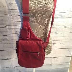 Buxton genuine leather red crossbody purse